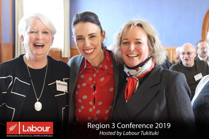 Geraldine Travers, Jacinda Ardern and Anna Lorck